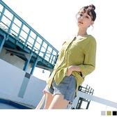 《AB12055》純色V領長版七分袖上衣罩衫--適 XL~4L OrangeBear