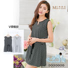 *孕味十足。孕婦裝*現貨【CMI650】台灣製顯瘦V領不敗條紋縮腰綁帶孕婦洋裝 兩色
