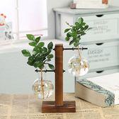 創意木架水培植物玻璃瓶花瓶透明水養綠蘿插花器皿桌面擺件工藝品 最後幾天!