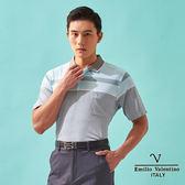 【Emilio Valentino】涼爽緹花休閒POLO衫 - 灰/水藍