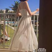 吊帶洋裝2019夏裝新款性感露肩冷淡風仙女氣質吊帶連身裙中長款網紗裙 全網最低價