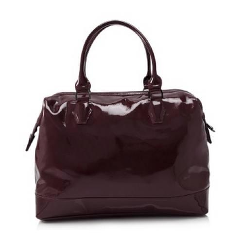 Longchamp 法國漆皮肩背手提包(酒紅色)