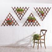 網格陽台懸掛墻壁墻上花架實木壁掛客廳綠蘿掛墻鐵藝吊蘭花盆掛式  YDL