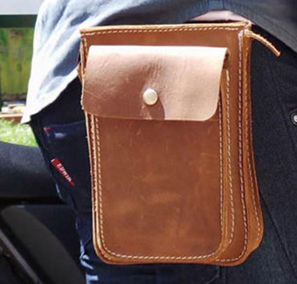 真皮手機腰包-休閒復古瘋馬皮 暗扣 手機袋 5~6吋 iPhone 手機包 掛包 零錢包 真皮包 手機袋(棕色)