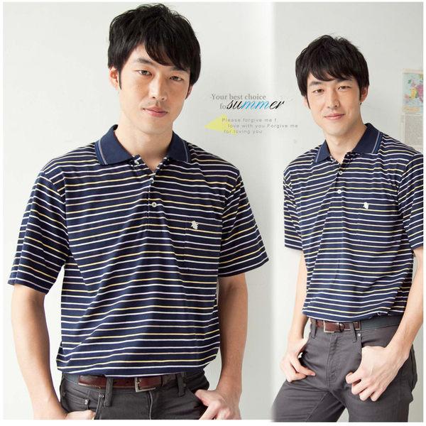 【大盤大】(P23671) 男 夏 橫條紋POLO衫 短袖上衣 基本款 口袋棉衫 運動衫 禮物【2XL號斷貨】