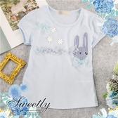 花朵條紋兔棉質短袖上衣(290049)【水娃娃時尚童裝】