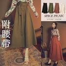 長裙 Space Picnic|素面高腰鬆緊長裙(預購)【C18103002】