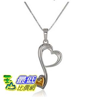 [美國直購] Two-Tone Sterling Silver Yellow Gold Flashed Double Open Heart Pendant Necklace, 18 項鍊