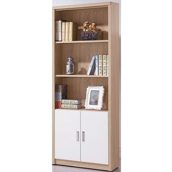 書櫃 書櫥 FB-275-4 橡木白2.6X6尺雙下門書櫃【大眾家居舘】