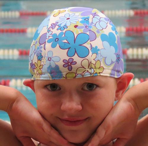 兒童萊卡泳帽 美國純手工製 高品質設計感 獨一無二 Printed 0-2歲 (頭圍40-46公分)
