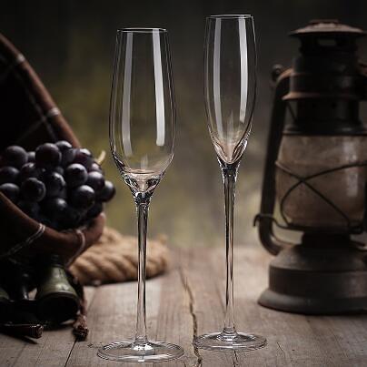 酒杯 歐式香檳杯6只套裝創意水晶玻璃紅酒杯高腳杯一對起泡酒杯2個禮盒【快速出貨八折下殺】