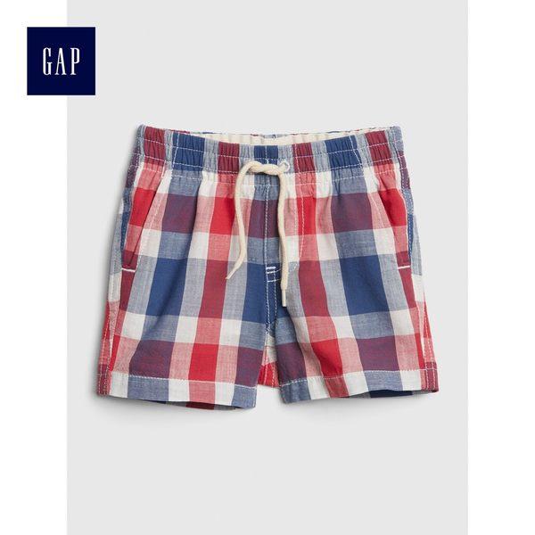 Gap男嬰兒 格紋休閒短褲 464186-復古西瓜紅