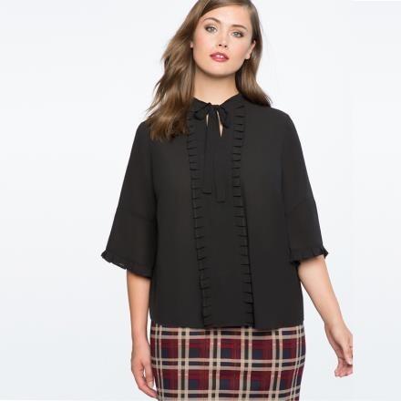 【南紡購物中心】《D Fina 時尚女裝》【大尺碼】領口蝴蝶結褶皺裝飾襯衫