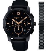 agnes b. 法式時尚計時套錶組-黑/39mm VD53-KCF0K(BT3040X1)