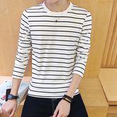 秋季新品長袖體恤男裝韓版修身潮流圓領條紋打底衫青少年男士T恤 時尚潮流