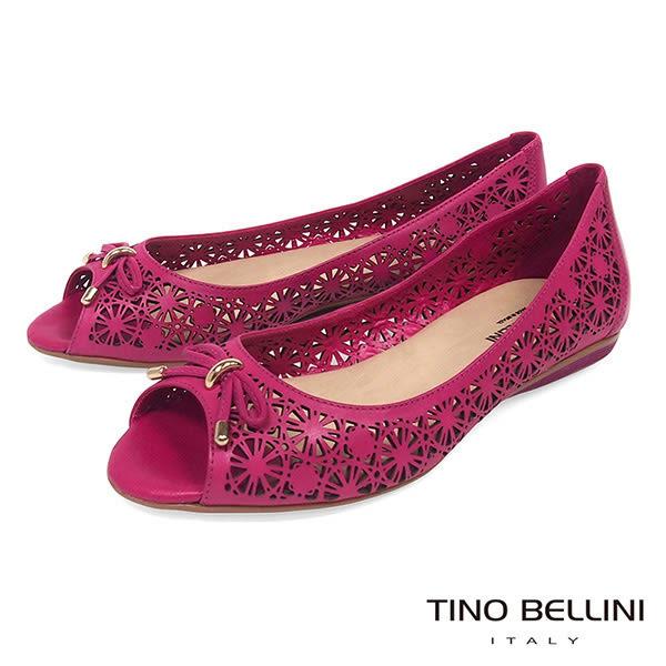 Tino Bellini 巴西進口精雕圖騰魚口娃娃鞋_ 桃紅 A83045 歐洲進口款