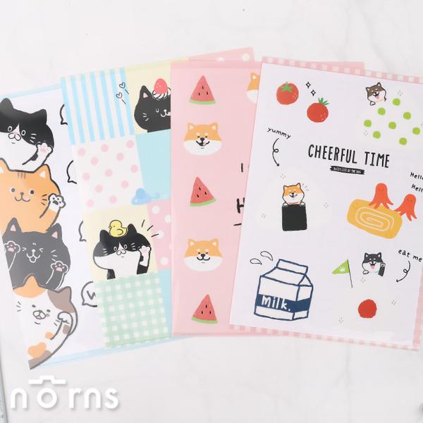 【動物L型資料夾】Norns 柴犬 貓咪 A4文件夾 L夾 檔案收納夾