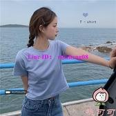 短款露臍短袖T恤女裝夏季修身顯瘦打底衫內搭上衣潮【桃可可服飾】
