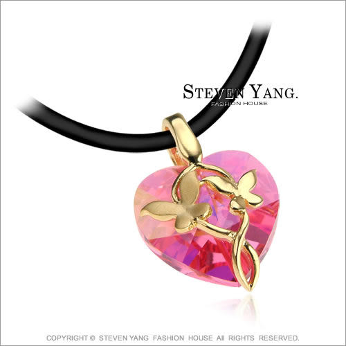 項鍊 正白K飾「蝶舞翩翩」採施華洛世奇水晶 母親節送禮