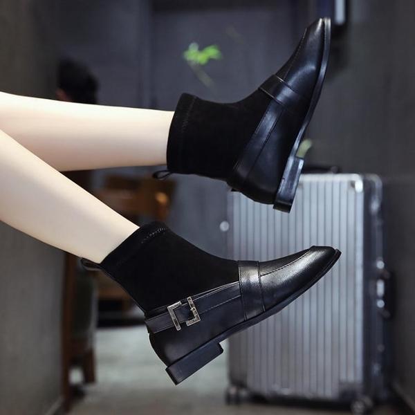 短靴 彈力襪靴2019秋季新款網紅ins潮短筒瘦瘦靴復古粗跟短靴網紅女鞋 2色35-40 交換禮物