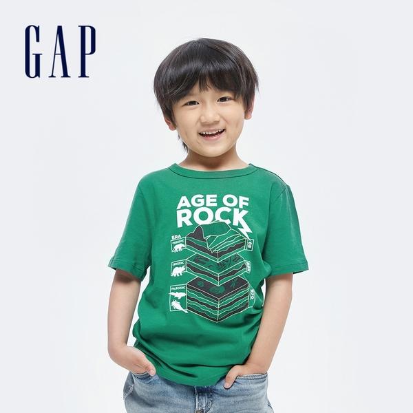 Gap男童 純棉印花短袖T恤 696636-綠色