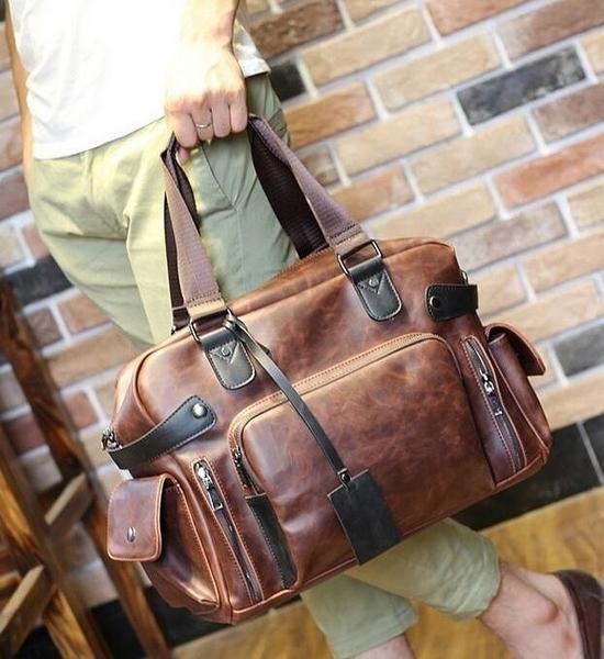 FINDSENSE Z1 韓國 時尚 潮 男 皮質 大容量 多功能 單肩包 旅行