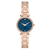 ELLE   Muette光線閃耀晶鑽腕錶-藍X玫瑰金