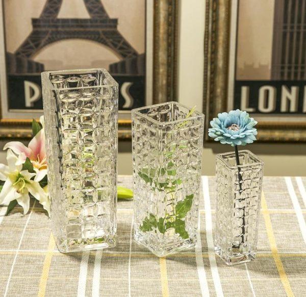 透明方口水晶玻璃花瓶水培花瓶家居裝飾品花瓶商務禮品 森雅誠品