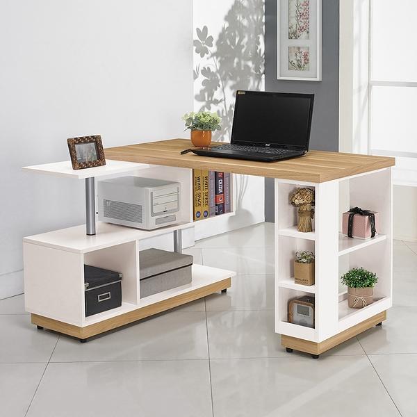 【森可家居】露西三合一書桌 10ZX543-2 辦公桌 多功能 雙色 無印北歐風 MIT台灣製造