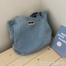 牛仔包 韓國ins牛仔帆布側背包大容量簡約百搭購物袋學生上課包包購物袋 晶彩 99免運