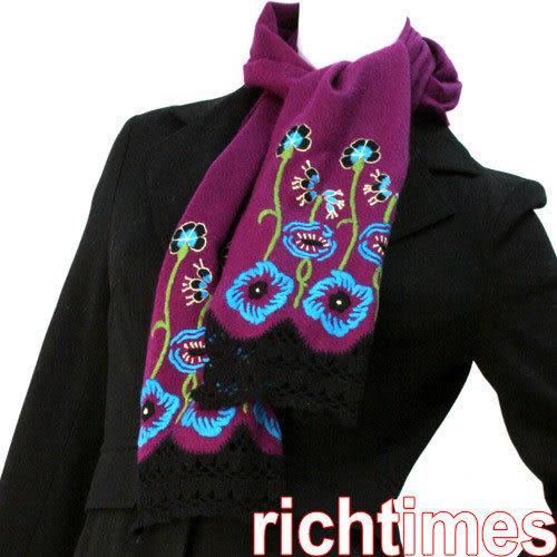 ANNA SUI繡花紫圍巾AS391513