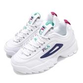 Fila 鋸齒鞋 Disruptor II Premium 白 藍 小白鞋 老爹鞋 韓妞必備 女鞋 復古運動鞋【PUMP306】 5C113T169
