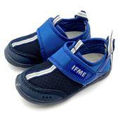 《7+1童鞋》中童 日本 IFME 透氣 魔鬼氈 排水孔 輕量  機能 水涼鞋 C475  藍色