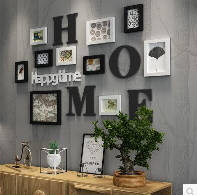 純實木相框牆組合創意簡約時尚百搭裝飾客廳臥室牆照片牆組合2203