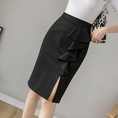 包臀半身裙S-3XL1106韓版高腰彈力包臀裙女洋氣開叉半身裙一步裙中長款D734快時尚