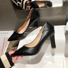 高跟鞋女仙女風秋季新款百搭時尚黑色職業法式少女細跟高跟鞋子【全館免運】