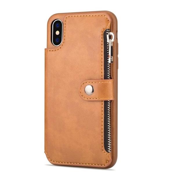 手機配件 適用iPhone XR新品配色拉鏈包磁扣手機殼翻蓋插卡商務X Max保護殼手機殼 手機套 皮套