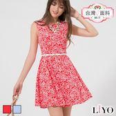 LIYO理優MIT滿版玫瑰印花無袖洋裝626011
