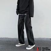 牛仔褲男黑色直筒寬松韓版潮流百搭中高腰休閑闊腿褲寬管褲大碼大號23XL【邦邦男裝】