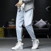 店長推薦2019春季新款日系九分牛仔褲男士加肥加大碼潮流簡約學生寬鬆褲子