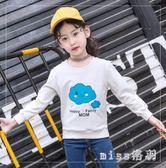 新款女童T恤新款童裝兒童中大尺碼全棉打底衫中大童上衣針織衫體恤衫 js9528『miss洛羽』