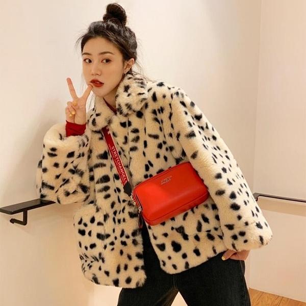 毛絨外套女冬短款2020新款韓版寬鬆羊羔絨仿皮草豹紋毛毛外套女冬 安雅家居館
