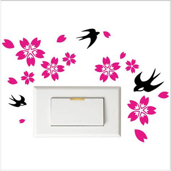 【開關小壁貼】燕子櫻花 # 壁貼 防水貼紙 汽機車貼紙 11.8cm x 10.3cm