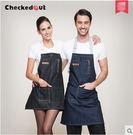 時尚牛仔圍裙咖啡師男女畫畫西餐廳烘焙韓版牛仔工作圍裙
