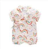 寶寶夏季嬰兒連體衣新生兒爬服薄外出服可愛水果和服 全館免運