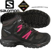 Salomon 399675 幻影灰/黑/甜菜紅 女Shindo GTX防水中筒登山鞋 Gore-Tex健行鞋/多功能鞋/郊山鞋/防水越野鞋