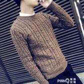 男士毛衣秋冬季新款韓版潮流圓領針織衫套頭修身毛線衣男裝上衣服  【PINK Q】