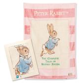 奇哥 優雅比得兔抗菌幼兒毛毯/禮盒/冷氣(藍/粉)(附奇哥提袋)