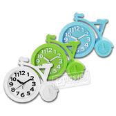 現代居家自行車立體刻度造型鬧鐘 - 白綠藍