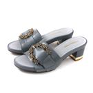HUMAN PEACE 拖鞋式涼鞋 灰藍色 粗跟 女鞋 065234NB no300